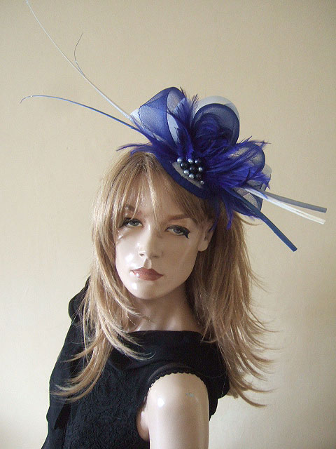 Royal Blue and White Ostrich Quill Goose Biot and Crin Large Fascinator cf1f38e9dfb